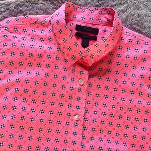 J CREW Hot Pink Patterned Button Down